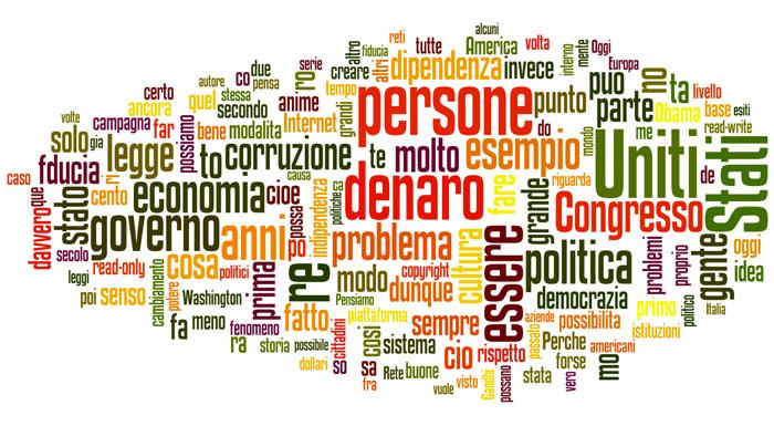 """Le 150 parole più utilizzate nel saggio """"La trasparenza della rete"""" di L. Lessig"""